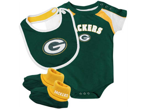 Green Bay Packers Outerstuff NFL Infant Creeper Bib & Bootie Set