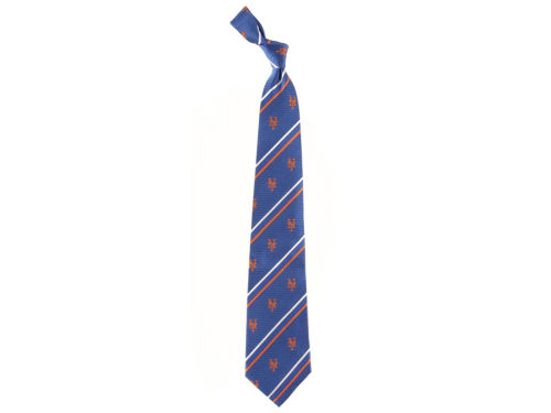 New York Mets Necktie Cambridge Stripe Woven Silk