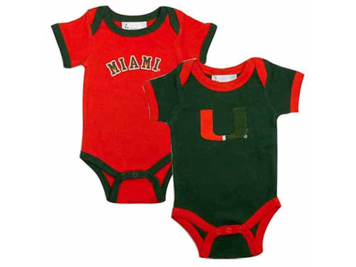 Miami Hurricanes NCAA Infant 2 Pack Conrtrast Creeper