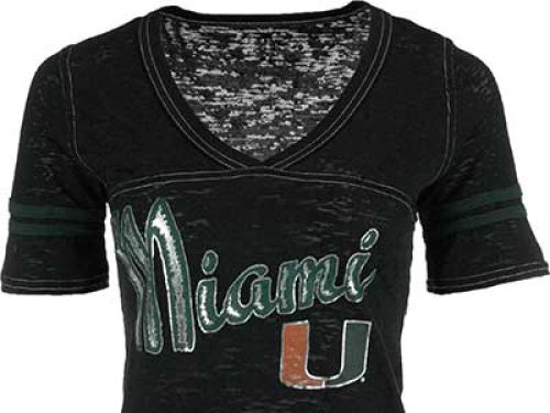 Miami Hurricanes Blue 84 NCAA Womens Gemmary Foil Vneck T-Shirt