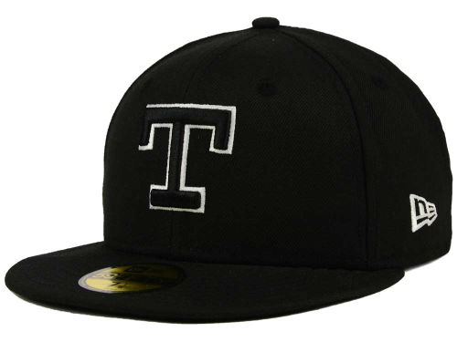 Texas Rangers New Era MLB Black and White Fashion 59FIFTY Cap Hats