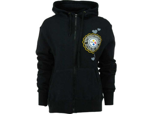 Pittsburgh Steelers 5th and Ocean NFL Womens Full Zip Brushed Fleece