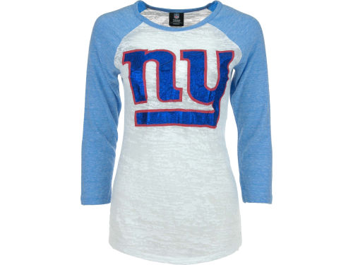 New York Giants 5th and Ocean NFL Womens Tri-Blend Crew Neck Raglan T-Shirt