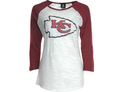 Kansas City Chiefs NFL Womens Tri-Blend Crew Neck Raglan T-Shirt