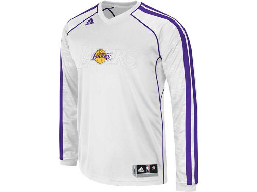 Los Angeles Lakers adidas NBA Road On-Court Long Sleeve Shooter