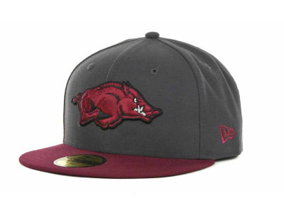 Arkansas Razorbacks NCAA 2 Tone Graphite and Team Color 59FIFTY Hats