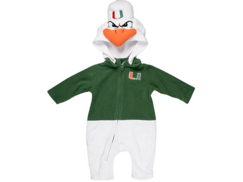 Miami Hurricanes NCAA Newborn Mascot Fleece Outfit