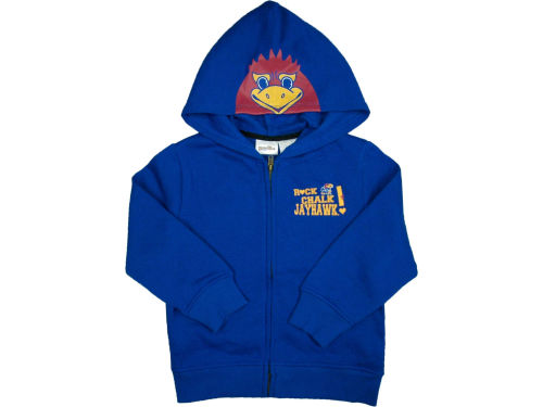 Kansas Jayhawks NCAA Youth 3D Mascot Zip Hoodie