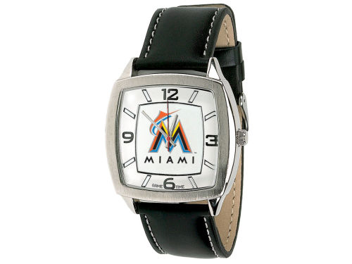 Miami Marlins Game Time Pro Retro Leather Watch