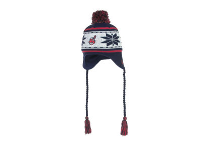 Cleveland Indians MLB Jr Striped Snowflake Knit Hats