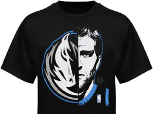 Dallas Mavericks Dirk Nowitzki Profile NBA Youth Logo Man T-Shirt