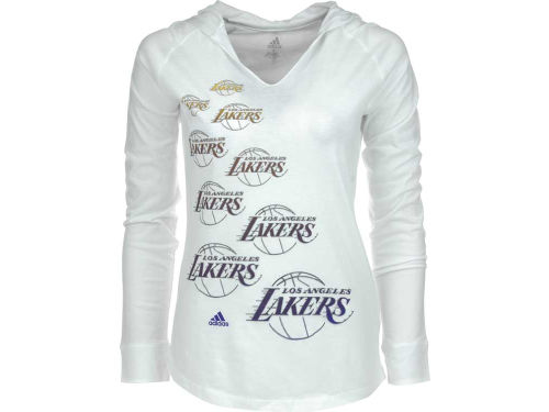 Los Angeles Lakers adidas NBA Womens Team Burn Out Hooded T-Shirt