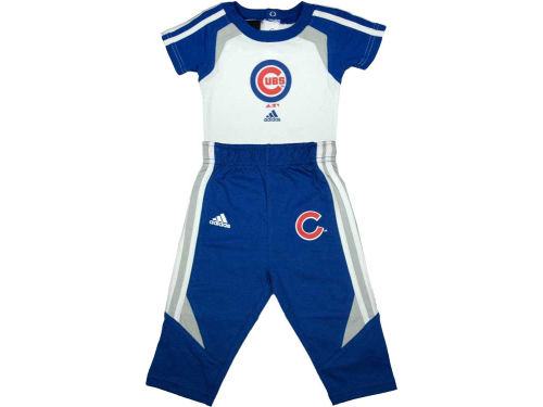 Chicago Cubs adidas MLB Newborn Creeper & Pant Set