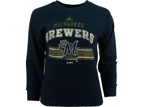 Milwaukee Brewers adidas MLB Youth Long Sleeve Vintage Thermal T-Shirt