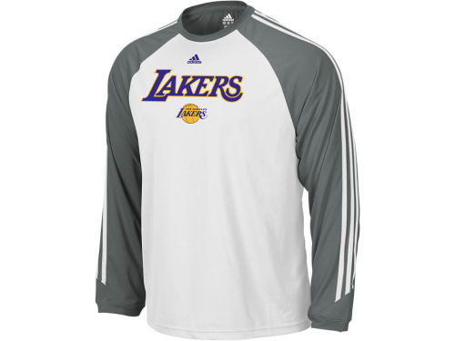 Los Angeles Lakers adidas NBA Team Arch 3-Stripe Long Sleeve T-Shirt