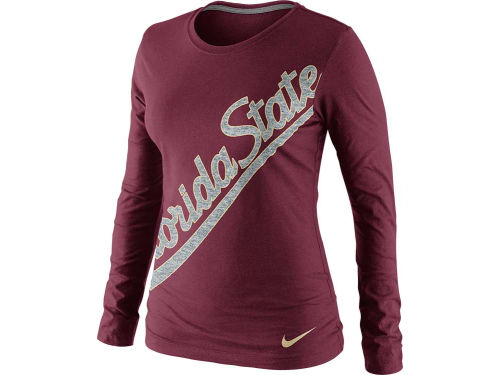 Florida State Seminoles Nike NCAA Womens Angled Script Long Sleeve T-Shirt
