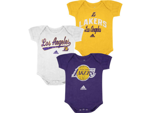 Los Angeles Lakers adidas NBA Infant 3 pack Creepers