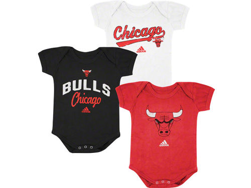 Chicago Bulls adidas NBA Infant 3 pack Creepers