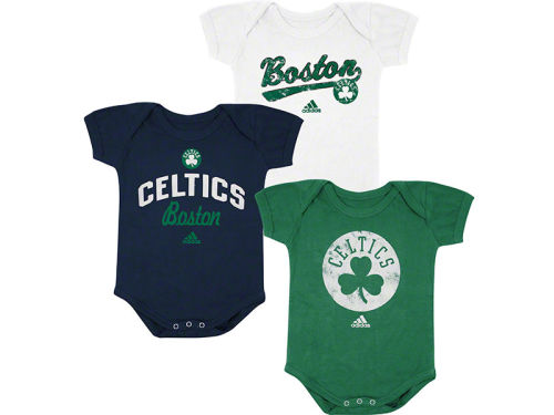Boston Celtics adidas NBA Newborn 3 Pack Creepers