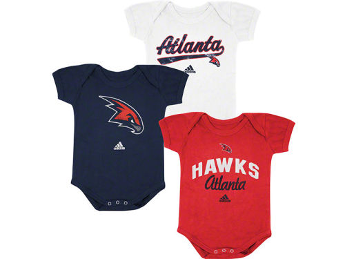 Atlanta Hawks adidas NBA Newborn 3 Pack Creepers