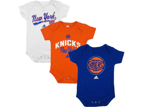 New York Knicks adidas NBA Newborn 3 Pack Creepers