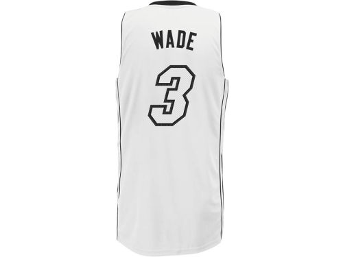 Miami Heat Dwyane Wade adidas NBA White/Black Swingman Jersey