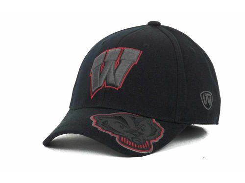 Wisconsin Badgers Top of the World NCAA Stride Black Cap Hats