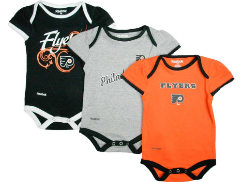 Philadelphia Flyers Reebok NHL Newborn 3pc Foldover Neck Creeper Set