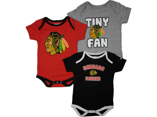 Chicago Blackhawks Reebok NHL Infant 3 PC Foldover Neck Creeper Set
