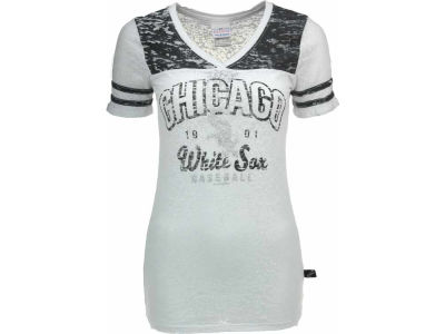 Chicago White Sox MLB Women's Striped Burnout V-Neck T-Shirt