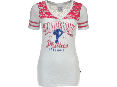 Philadelphia Phillies MLB Womens V-Neck Burnout with Sleeve Stripe