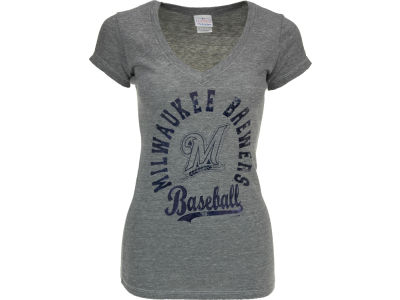 Milwaukee Brewers MLB Womens V-Neck Foil T-Shirt