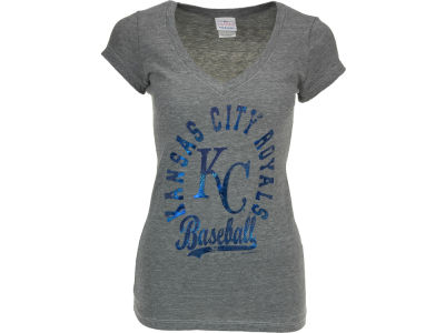 Kansas City Royals MLB Womens V-Neck Foil T-Shirt