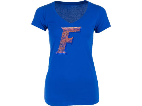 Florida Gators NCAA Womens Logo Sequin Vneck T-Shirt