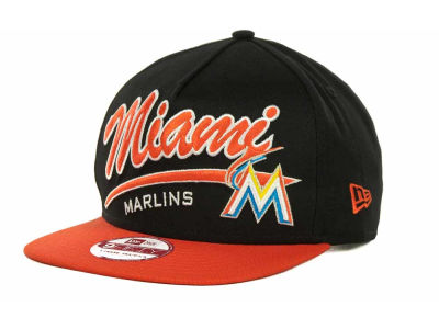 Miami Marlins MLB Script Logo Snapback 9FIFTY Cap Hats