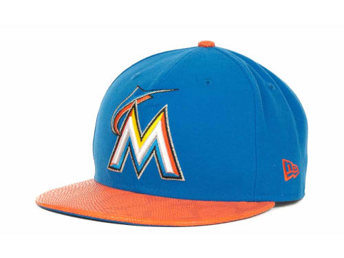 Miami Marlins New Era MLB Snake Thru 9FIFTY Strapback Hats