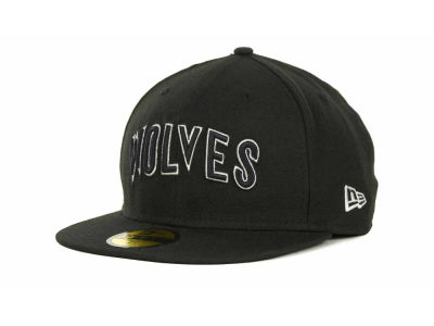 Minnesota Timberwolves NBA Hardwood Classics Black White 59FIFTY Hats