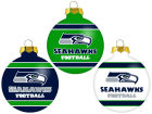 Seattle Seahawks Glass Ball Ornament 3 Pack Holiday