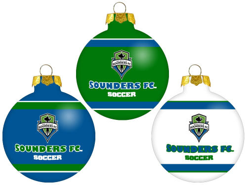 Seattle Sounders FC Glass Ball Ornament 3 Pack