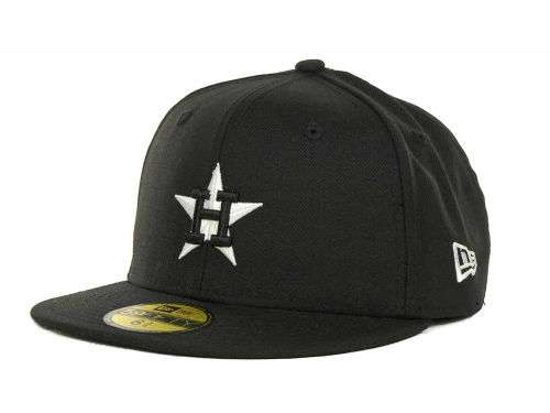 Houston Astros New Era MLB Black and White Fashion 59FIFTY Hats