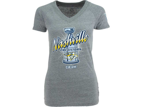 Nashville Predators CCM Hockey NHL Womens Vneck Triblend T-Shirt