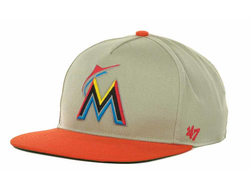 Miami Marlins '47 Brand MLB Natural 2T Strapback Cap Hats
