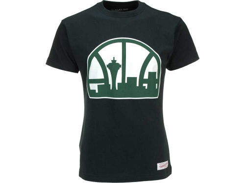 Seattle SuperSonics Mitchell and Ness NBA Kamikaze II Retro Skyline T-Shirt