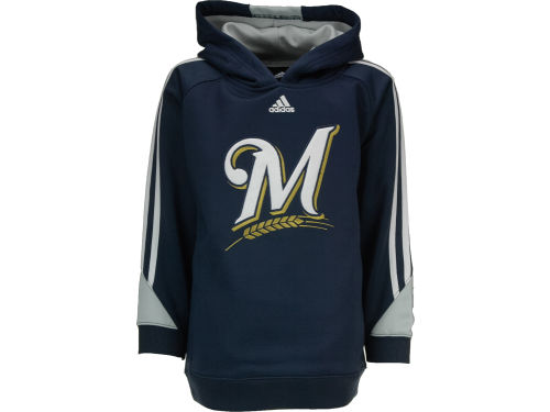 Milwaukee Brewers adidas MLB Youth Long Sleeve Popover Hoodie