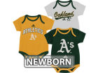 Oakland Athletics Outerstuff MLB Newborn 3 Piece Bodysuit Set Infant Apparel