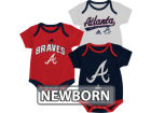 Atlanta Braves Outerstuff MLB Newborn 3 Piece Bodysuit Set Infant Apparel