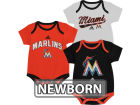 Miami Marlins adidas MLB Newborn 3 Piece Bodysuit Set Infant Apparel
