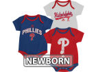 Philadelphia Phillies Outerstuff MLB Newborn 3 Piece Bodysuit Set Infant Apparel