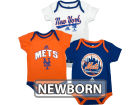 New York Mets Outerstuff MLB Newborn 3 Piece Bodysuit Set Infant Apparel