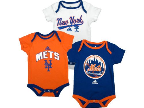 New York Mets Outerstuff MLB Newborn 3 Piece Bodysuit Set